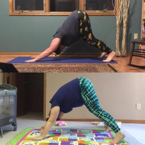 yoga downward dog difference between starting and one year into practice