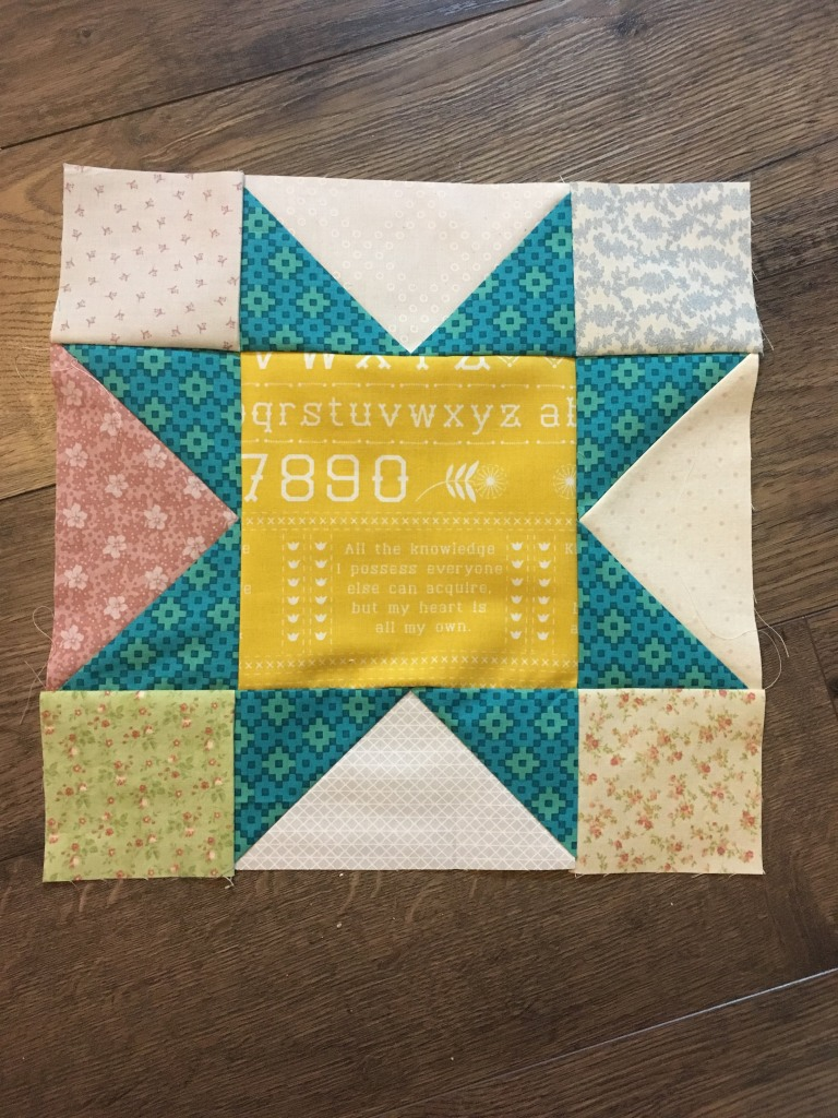 sawtooth quilt block teal and yellow