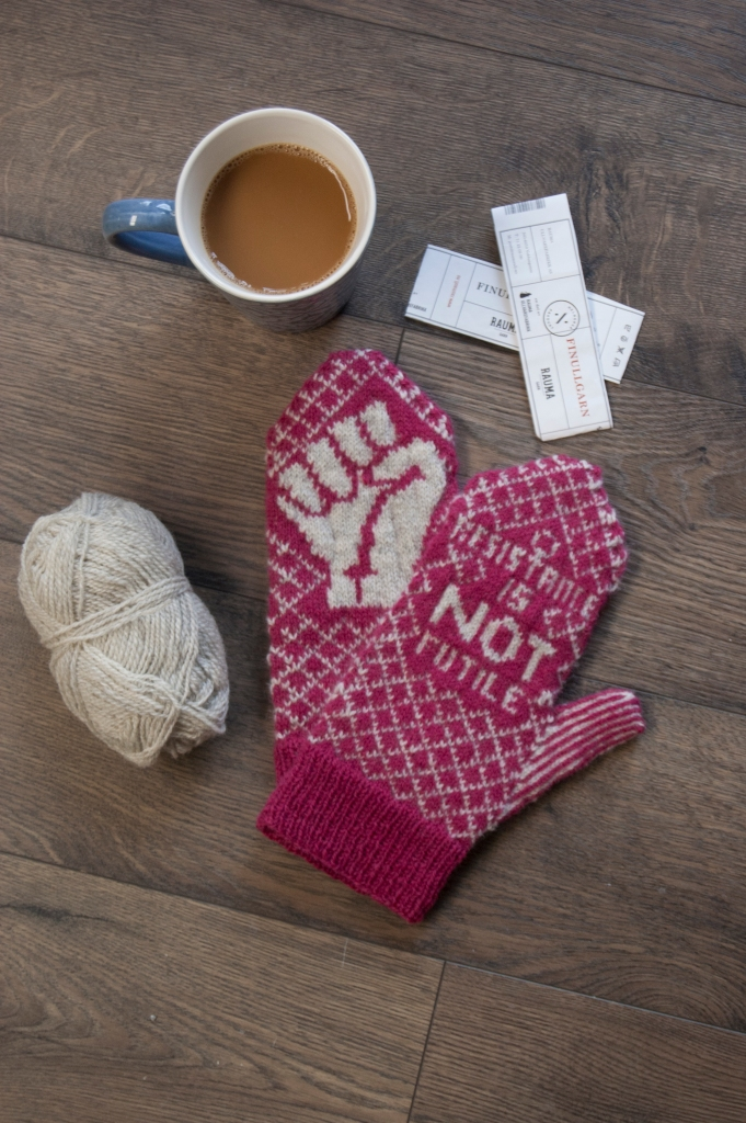 mittens yarn and coffee